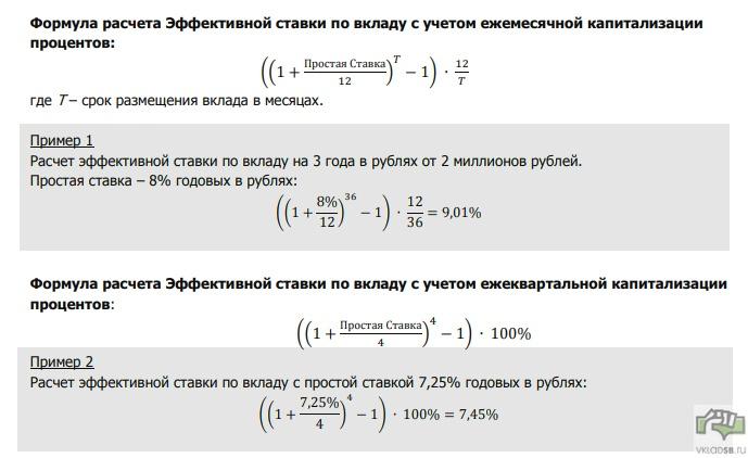 Формула расчета Эффективной ставки по вкладу с учетом ежемесячной и ежеквартальной капитализации процентов