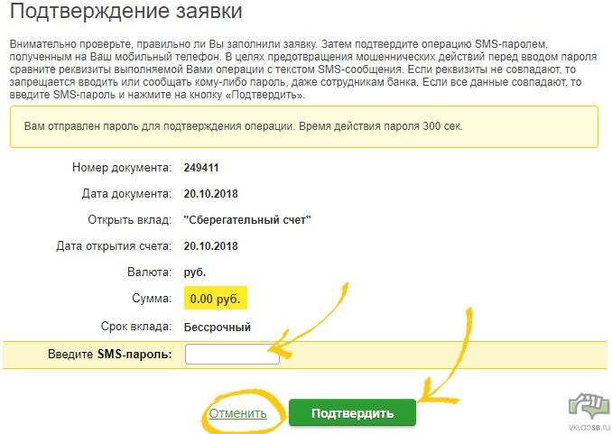 Шаг 7 - ввод кода из смс