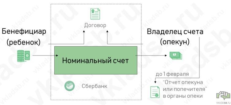 Схема работы номинального счета в Сбербанке для социальных выплат